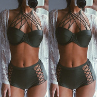 Sexy Push up Swimwear Black Hollow Out Padded Lace Bikini Set High Waist Swimsuit Bathing