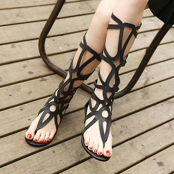 Cut Out Straps Slip-on Gladiator Flat Sandals