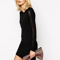 River Island Mesh Sleeve Knit Dress
