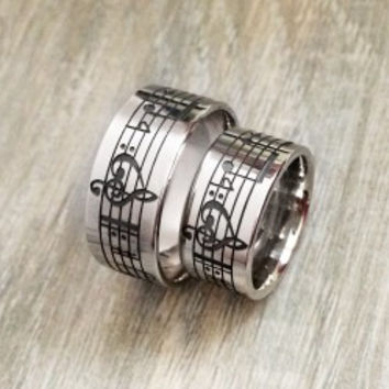 Personalized Music Notes Couple Silver Band Rings