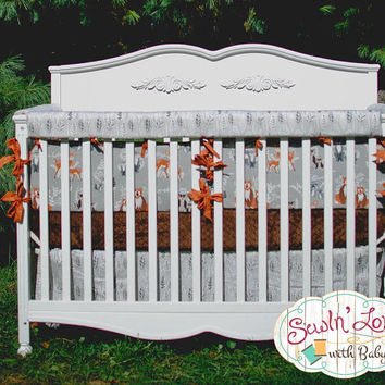 Woodland Bedding for Crib - Baby Boy Woodland Creature - Custom Crib Bumpers, Custom Crib Skirt, Custom Crib Sheet - Custom Nursery Bedding