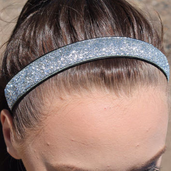 Nonslip Silver Glitter Headband – Non Slip Stretchy Sports Headband – Ribbon & Elastic Hair Accessory – Athletic Head Band – Softball Gift