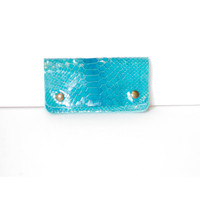 iphone 5 Wallet - Blue Python Patent Italian Leather