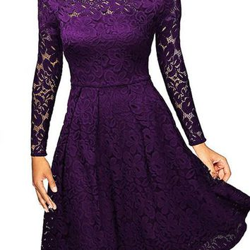 Witching Purple Lace Irregular Trim Cocktail Dress Knee Length