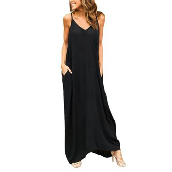 Solid Women Boho Strapless Sexy V Neck Sleeveless Irregular Dress Casual Loose Camisole Long Maxi Solid Maxi Dress