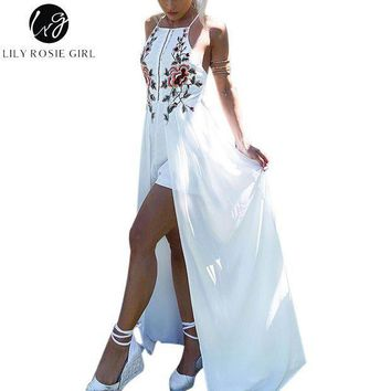 ESBONFI Lily Rosie Girl White Embroidery Floral Sexy Party Playsuits Split Autumn Winter Backless Jumpsuits Short Beach Rompers Overall