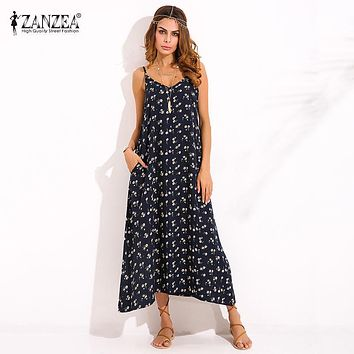 ZANZEA Boho Womens V Neck Floral Printed Sleeveless Summer Beach Party Spaghetti Strap Maxi Long Dress Sexy Sundress Vestidos