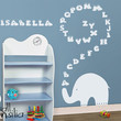 "Baby Nursery Wall Decal - Elephant Wall Decal - Elephant Alphabet Decal - Nursery Wall Sticker - Large: 24"" high and 42"" wide"