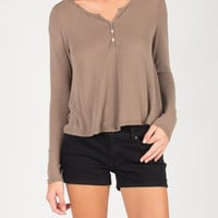 Long Sleeve Henley Top - Mocha