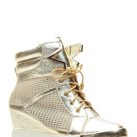 Metallic Gold Lace Up Sneaker Wedges
