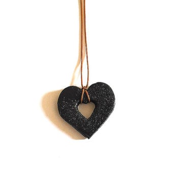 Necklace black heart handmade in cold porcelain and hand painted