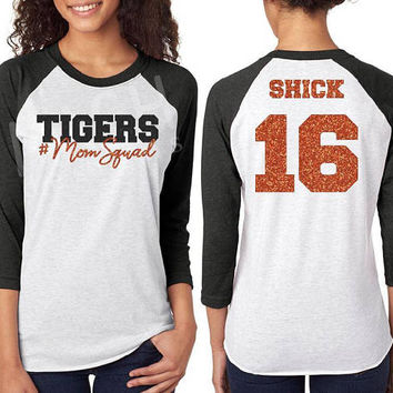 Glitter Mom Squad Raglan tee, mascot mom shirt, mascot #momsquad 3/4 sleeve raglan, football mom, baseball mom, school pride shirt, tigers