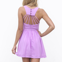 Purple Sleeveless Dress with Lattice Open Back&Pleat Skirt