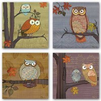 """Awesome Owls Set by Paul Brent 8""""x8"""" Art Print Poster"""