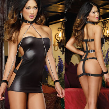 Shimmery Strapless Dress with Buckles and Restraints faux leather Club Dress Sexy Exotic clubwear dancewear lingerie for women