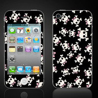 iPhone 4 Vinyl Decal Wrap Skin 4S  Girl Skulls bows by ItsASkin