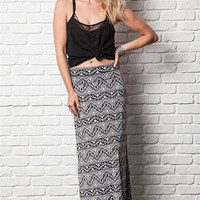 Black and White Print Fold-Over Maxi Skirt