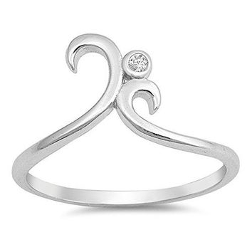 White CZ Solitaire Swirl Statement Ring New 925 Sterling Silver Band Sizes 410