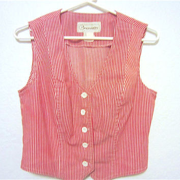 Vintage 70's Bronson of California Red & White Striped Denim Fitted Ladies Vest, Christmas Holiday Retro Style Ladies Fashions, Funky Cool
