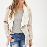 LOVE 21 Faux Shearling Jacket Beige