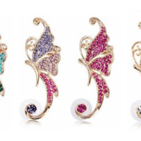 18k Gold Plated Crystal Butterfly Clip on Ear Cuff
