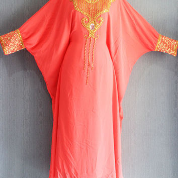 Cute Peach Sequin Caftan Dress, Plus Size Caftan Maxi Dress, Fancy Maxi Kaftan Gowns Dresses, Moroccan Dubai Abaya Maxi Caftan Dress