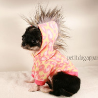Teacup Dog Clothes Pink Leopard Mohawk Hoodie by PetitDogApparel