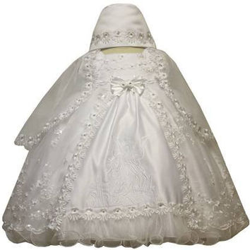 Baby Girl Toddler Christening Baptism Dress Gowns outfit set with bonnet /XS/S/M/L/XL/0-3M/3-6M/6-12M/12-18M/18-24M/XSMALL/SMALL/MEDIUM/LARGE/XL/2t/#5443
