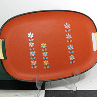 1970s Oval Serving Tray with Wrapped Handles . Burnt Orange . Blue Gold Pink Flower Pattern . Composite Bar Tray