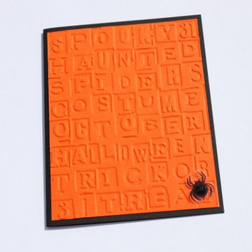 Embossed Halloween Card, Spider