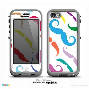 The Bold Colorful Mustache Pattern Skin for the iPhone 5c nüüd LifeProof Case