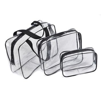Black friday Hot 3pcs Clear Cosmetic Toiletry PVC Travel Wash Makeup Bag (Black)