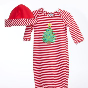 Newborn Baby Gown with Appliqué Christmas Tree & Cap