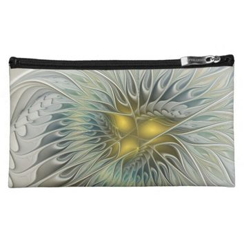 Golden Flower Fantasy, abstract Fractal Art Makeup Bag