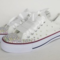 White glitter bridal shoes, custom bling sneakers, bridal converse style shoes, plimsolls, bride flats, sparkly custom made wedding shoes