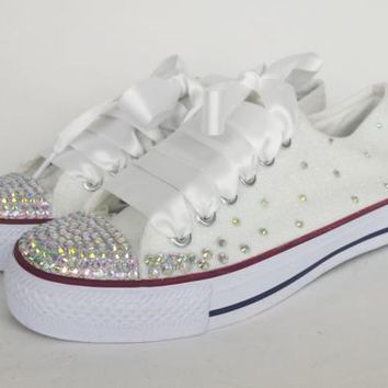 White Glitter Bridal Shoes Custom Bling Sneakers Converse Style Plimsolls