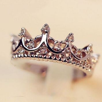 Crown Shape Silver Ring Promise Love Gift Gift + Free Shipping + Big Discount