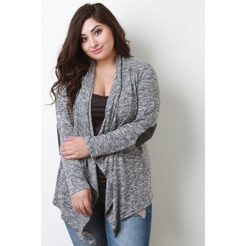 Draped Melange Knit Quilted Elbow Patch Cardigan