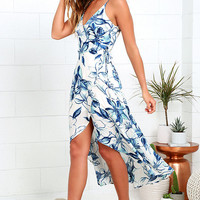 Wrapped in Whimsy Blue and Ivory Floral Print High-Low Dress