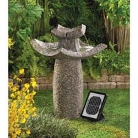Asian Temple Solar Powered Garden Water Fountain