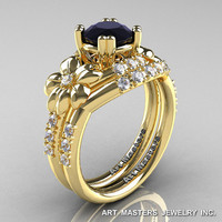 Nature Inspired 14K Yellow Gold 1.0 Ct Black White Diamond Leaf and Vine Engagement Ring Wedding Band Set R245S-14KYGDBD