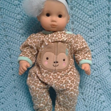 "American Girl BITTY BABY clothes RESERVED for Heidi ""Wild Lil' Monkey, Too"" (15 inch) doll outfit with sleeper and headband hair clip monkey"