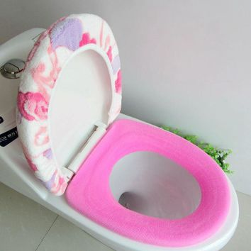 Super Soft Coral Fleece Two-piece Toilet Pad Seat Cover Warm Clean Washable Twin Set ZH01080
