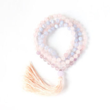 The Enchantress Mala -- 108 Handknotted Mala Beads with Blue Lace Agate, Rose Quartz, Amethyst, and Silk Tassel