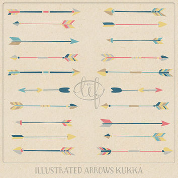 Arrow ClipArt Set 2 Hand Drawn Coral Turquoise Teal tribal arrow clip art for logo and other graphic design, invitations, and card making