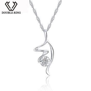 DOUBLE-R 925 Sterling Silver Pendants Women Fairy Necklaces Pendants 0.06ct Diamond Romantic Black Friday Fine Jewelry CAP02777A