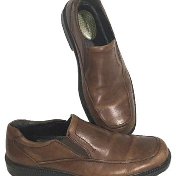 Hush Puppies Shoes Loafers Slip On Brown H18751 Earthy Leather Mens US 11M - Preowned