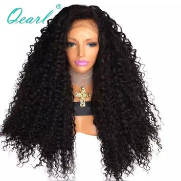 350gram Kinky Curly Lace Front Wig Thick Density Human Hair Wigs