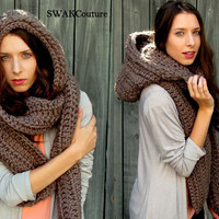 Oversized Hooded Scarf Lofty Wool Scarf Scoodie Scarf Mortar Brown or Choose your Color