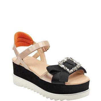 Letitia Embellished Platform Sandals at Guess